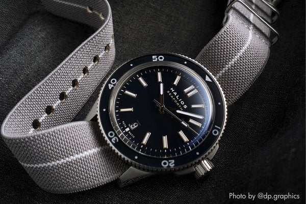 vario elastic nylon nato strap black on halios dive watch