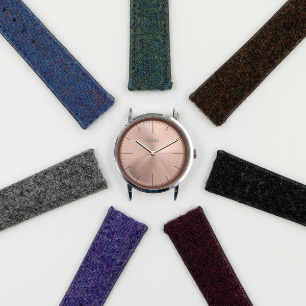 eclipse salmon dial 38mm dress watch with harris tweed strap