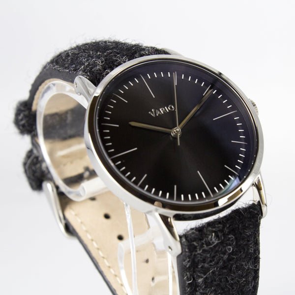 eclipse 38 mm montre habillée noire bracelet en tweed harris