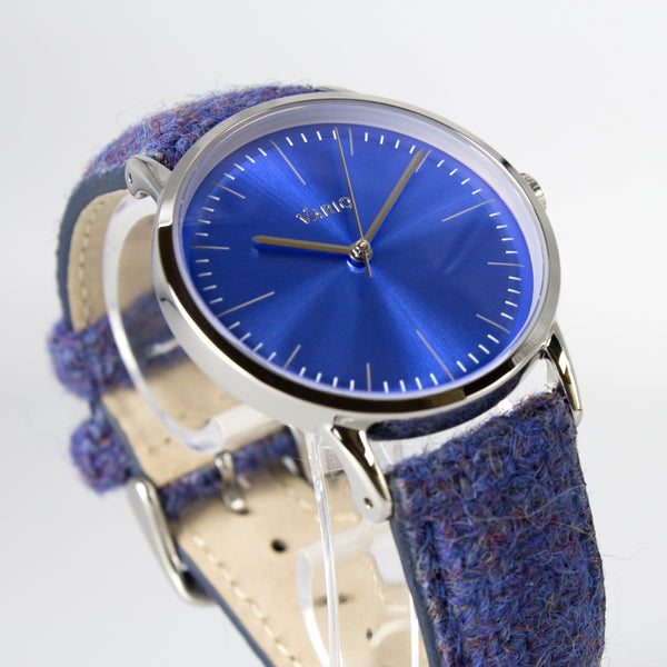 eclipse 38mm blue dress watch harris tweed strap