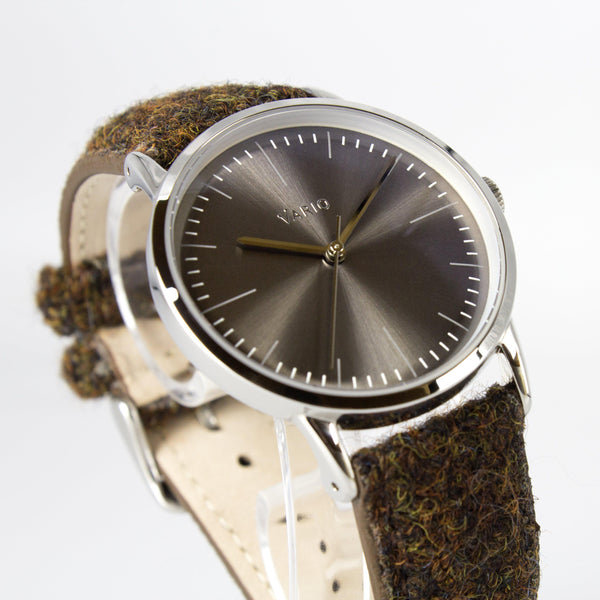 Eclipse 38mm graues Kleid Uhr Harris Tweed Armband