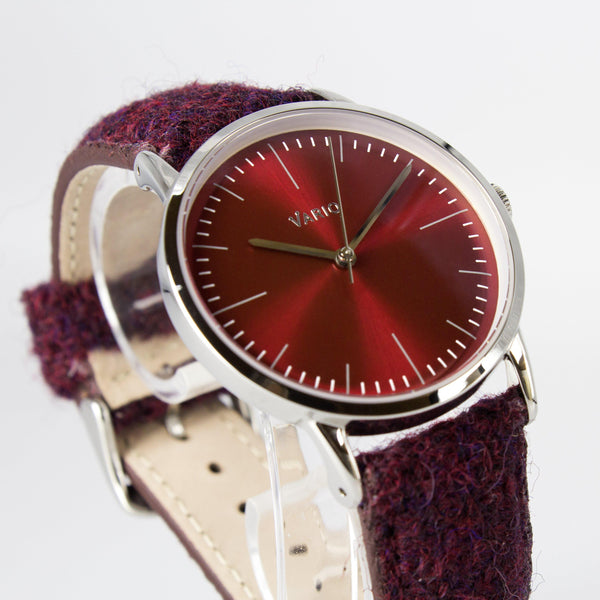 eclipse 38mm red dress watch harris tweed strap
