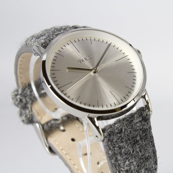 eclipse 38mm silver dress watch harris tweed strap