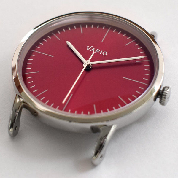 vario eclipse red dial close up