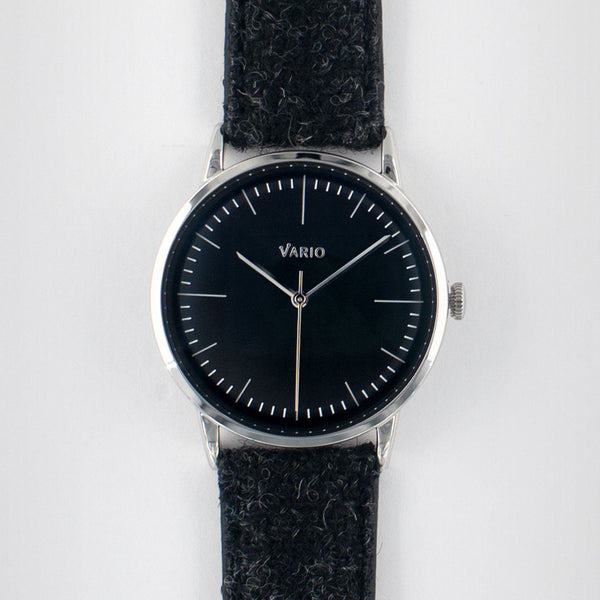 eclipse 38 mm montre habillée noire bracelet en tweed harris remonté à la main