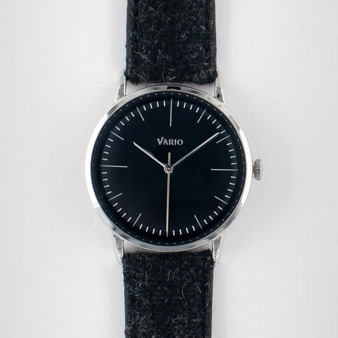 eclipse 38mm black dress watch handwound harris tweed strap