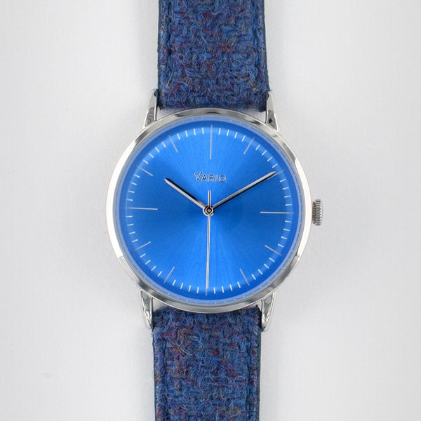 eclipse 38mm blue dress watch quartz harris tweed strap