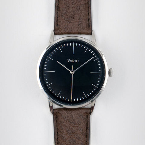 eclipse black dial watch with zrc buffalo watch strap