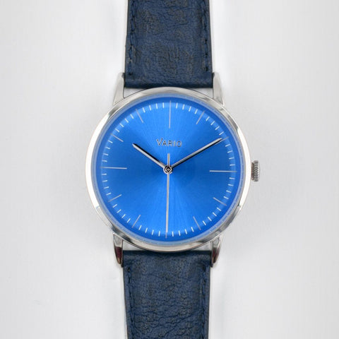 eclipse blue dial watch with zrc buffalo watch strap