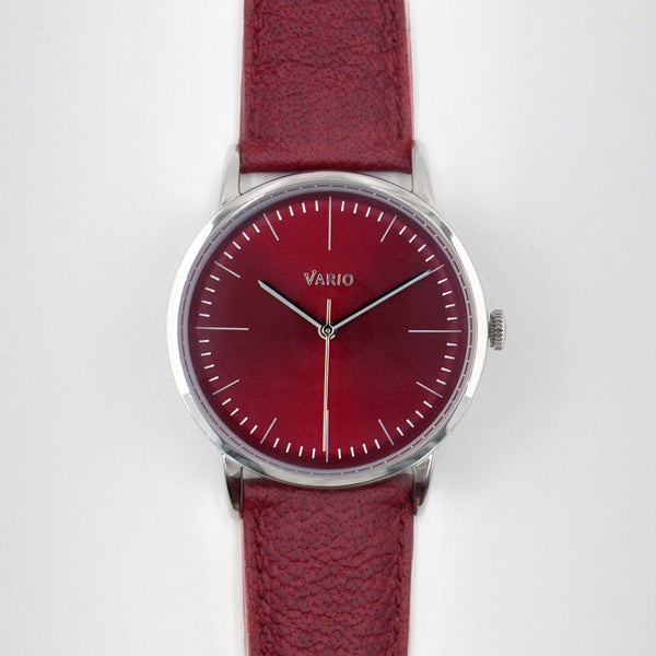 eclipse red dial watch with zrc buffalo watch strap