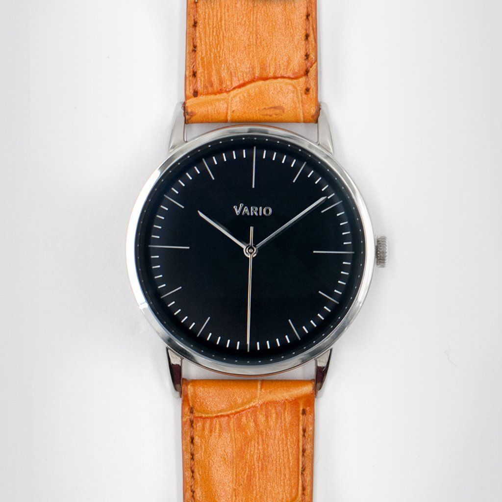 eclipse black dial with zrc alligator grain watch strap