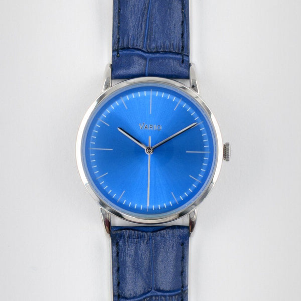 eclipse blue dial watch with zrc alligator grain watch strap