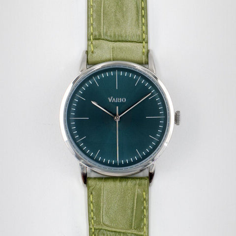 eclipse green dial watch with zrc alligator grain watch strap