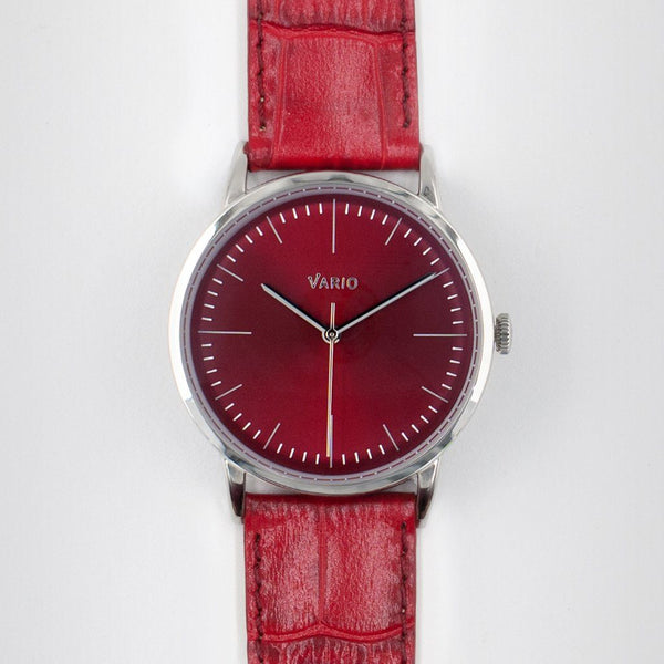 eclipse red dial watch with zrc alligator grain watch strap