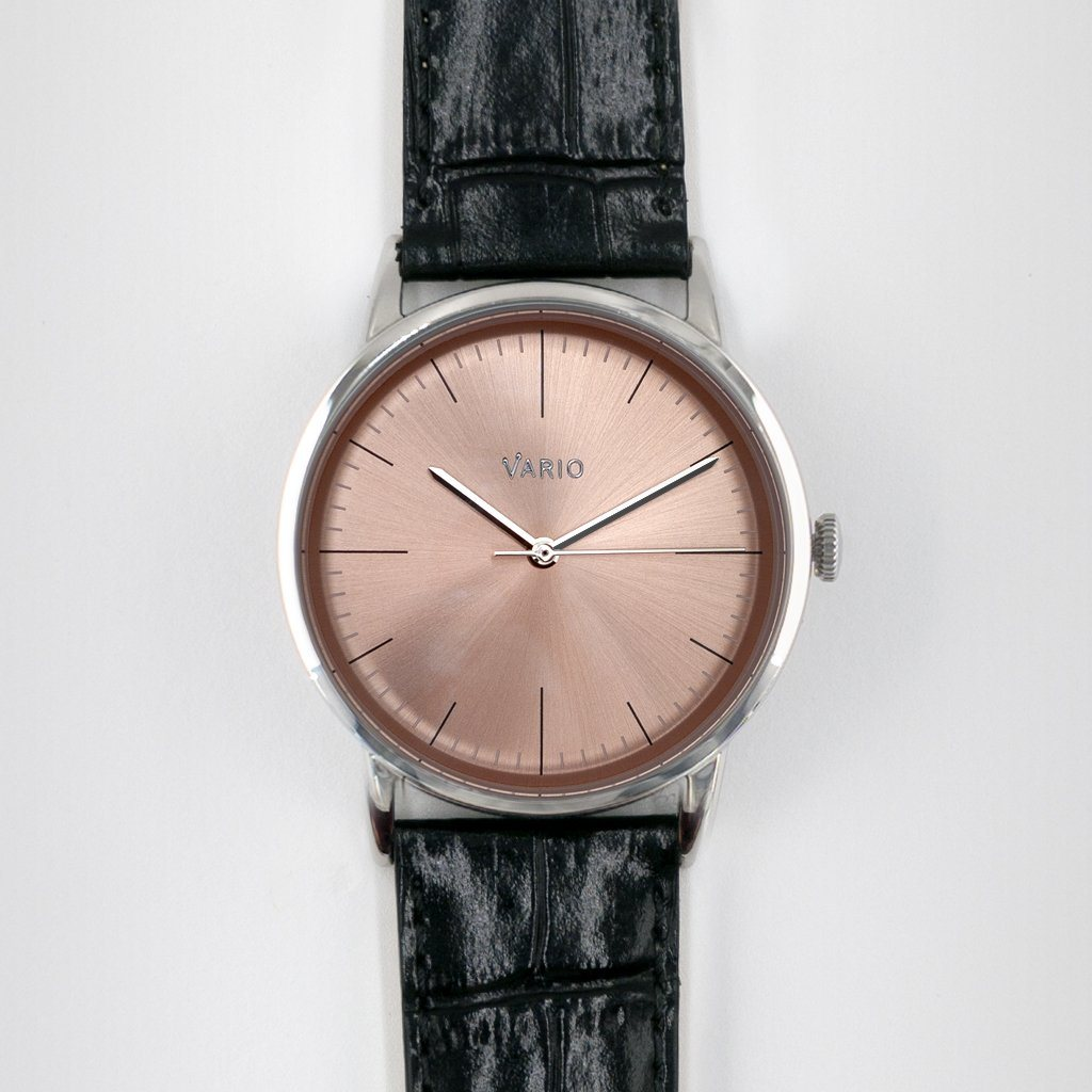 vario eclipse salmon watch with croc leather