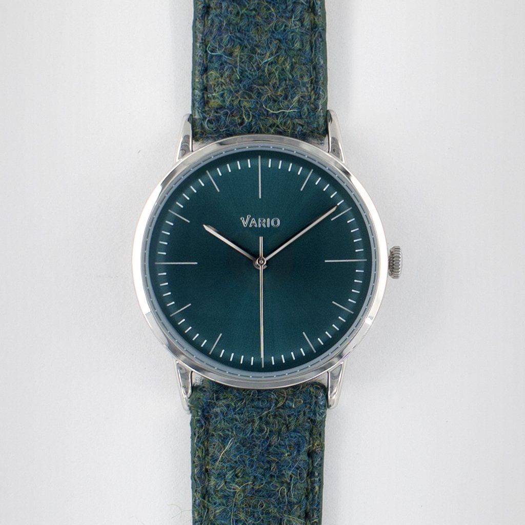 eclipse 38 mm montre habillée verte bracelet quartz harris tweed