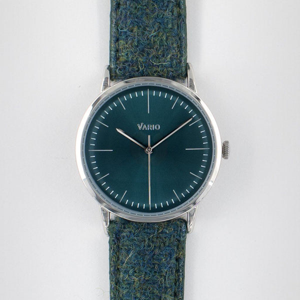 eclipse 38mm green dress watch quartz harris tweed strap