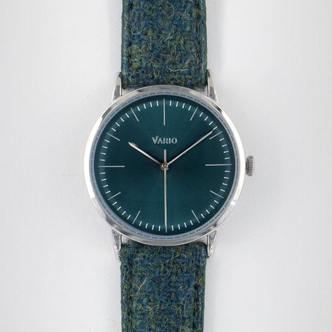 eclipse 38mm rood dress watch handopgewonden Harris Tweed band