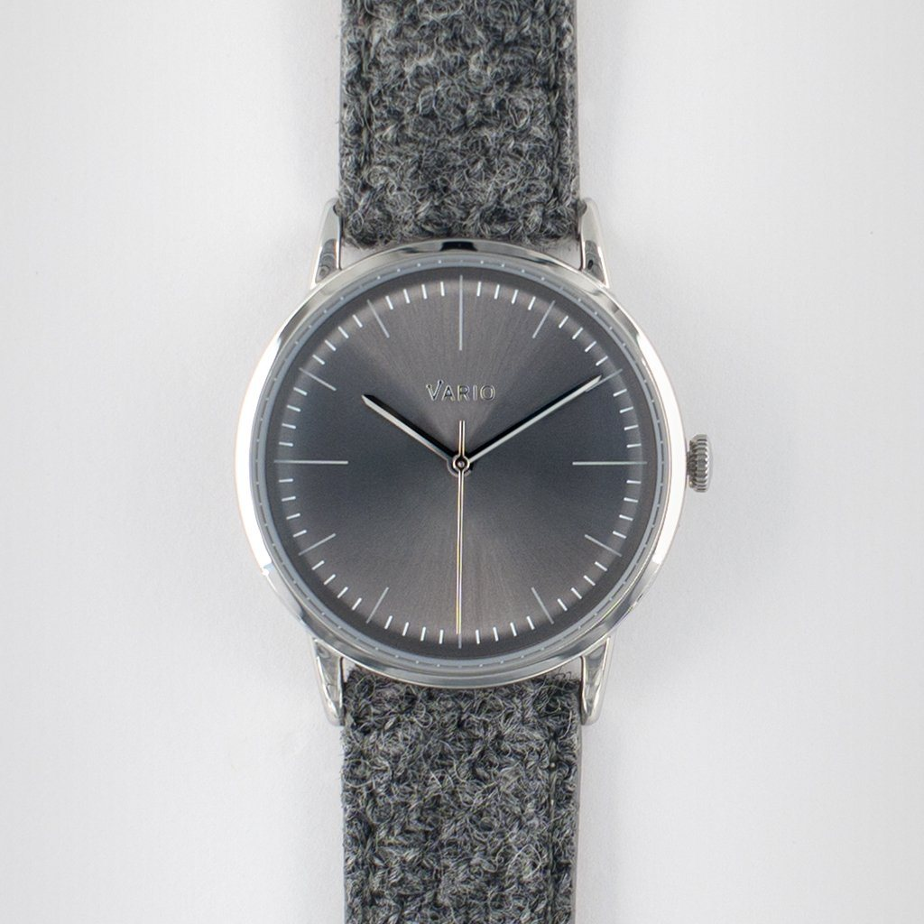 eclipse 38mm grey dress watch handwound harris tweed strap
