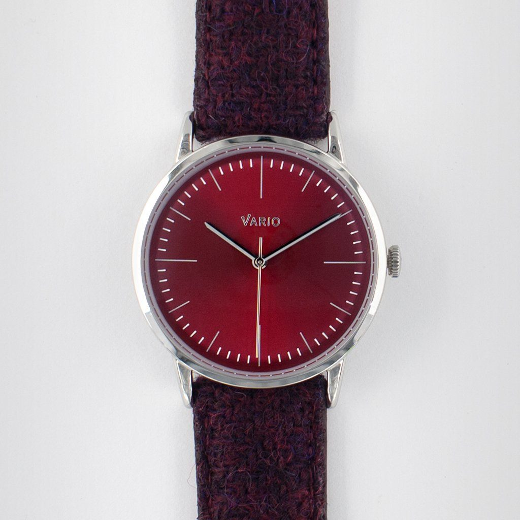 montre habillée eclipse 38 mm rouge bracelet en tweed harris remonté à la main