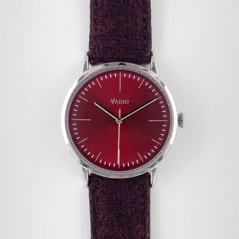 eclipse 38mm red dress watch quartz harris tweed strap