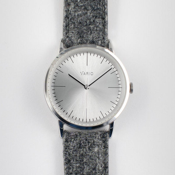 eclipse 38mm silver dress watch quartz harris tweed strap