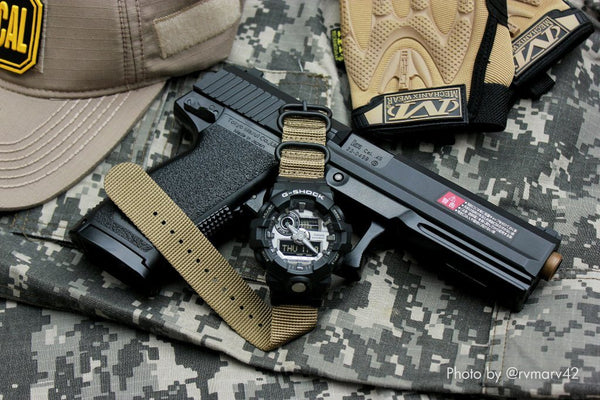 gshock ga700 with casio nato adapter and vario ballistic nylon strap brown