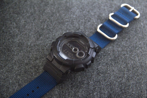 gshock gd100 with casio nato adapter and vario ballistic nylon watch strap blue