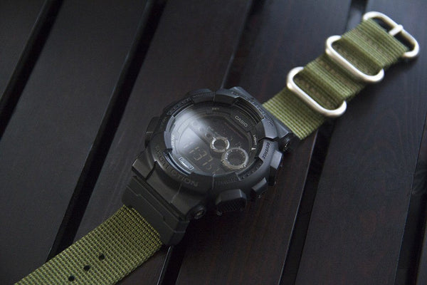 gshock gd100 with casio nato adapter and vario ballistic nylon strap green