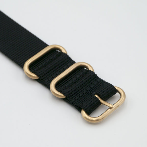 vario ballistic nylon nato zulu watch strap with gold buckle