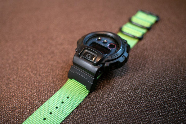 gshock dw6900 with vario nato zulu watch band and casio adapter green