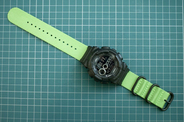 g-shock gd100 with vario ballistic green nato watch strap and casio adapter