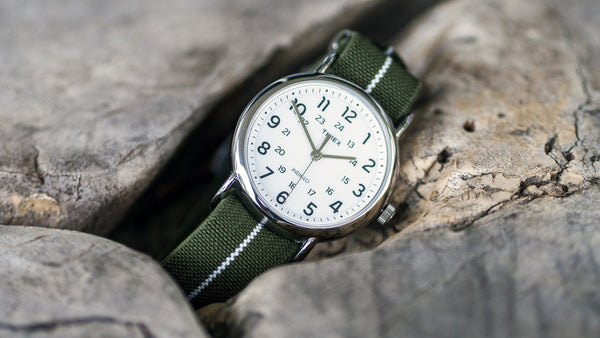 vario elastic nylon nato strap green and white timex watch