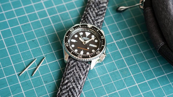 vario harris tweed watch strap on seiko skx007
