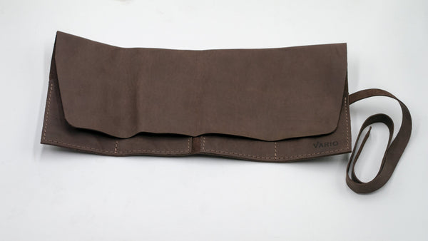 vario travel watch pouch brown half closed