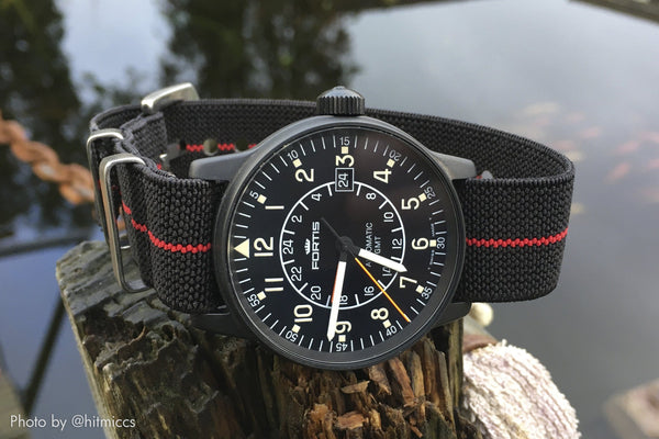 fortis watch with vario elastic nato strap
