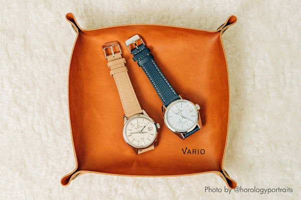 vario leather valet tray for watches and keys
