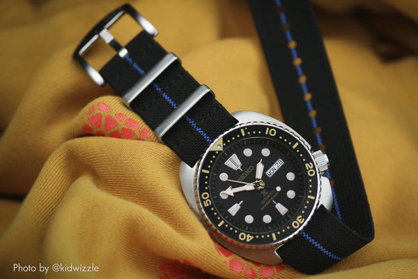 vario elastic nylon nato strap black and blue seiko