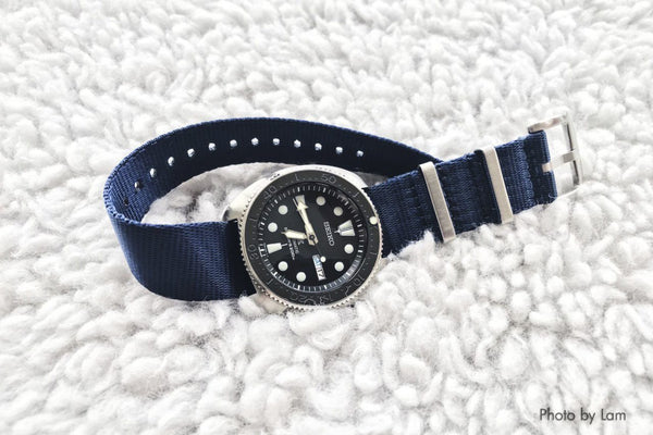 seiko srp777 on vario navy blue seat belt nato strap