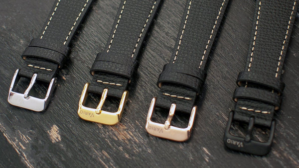 vario leather watch strap buckle options