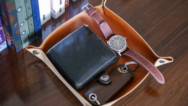 Belarusian Caramel Brown Leather Valet Tray (School of Horology) for Watch, Keys, Accessories
