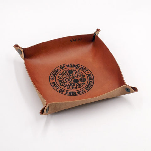 Belarusian Caramel Brown Leather Valet Tray for Watch, Keys, Accessories
