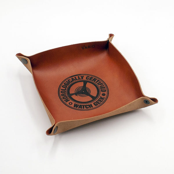 Belarusian Caramel Brown Leather Valet Tray (Certified Watch Geek) for Watch, Keys, Accessories