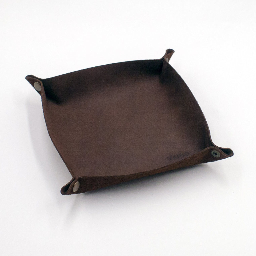Belarusian Hickory Brown Leather Valet Tray for Watch, Keys, Accessories