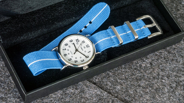 vario elastic nylon nato strap blue and white timex watch