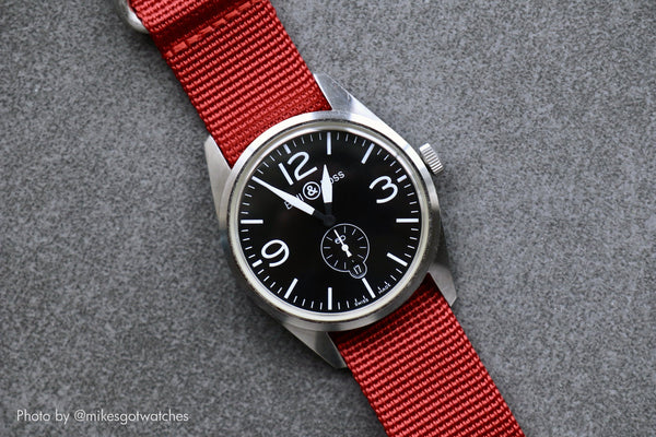 vario red ballistic nylon nato zulu watch strap with bell and ross watch