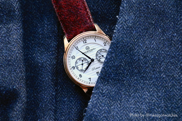melbourne microbrand watch on vario harris tweed strap for men
