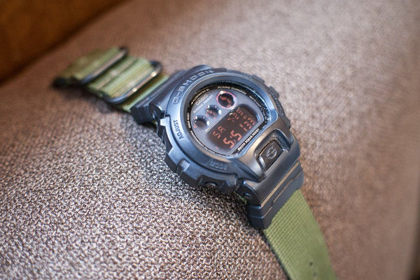 gshock dw6900 with vario nato zulu watch band and casio adapter