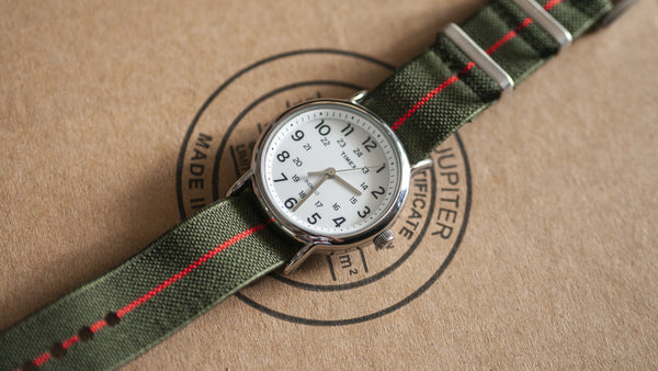 vario elastic nylon nato strap green red on timex weekender watch