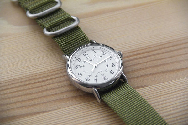 green ballistic nylon nato zulu strap band with timex weekender